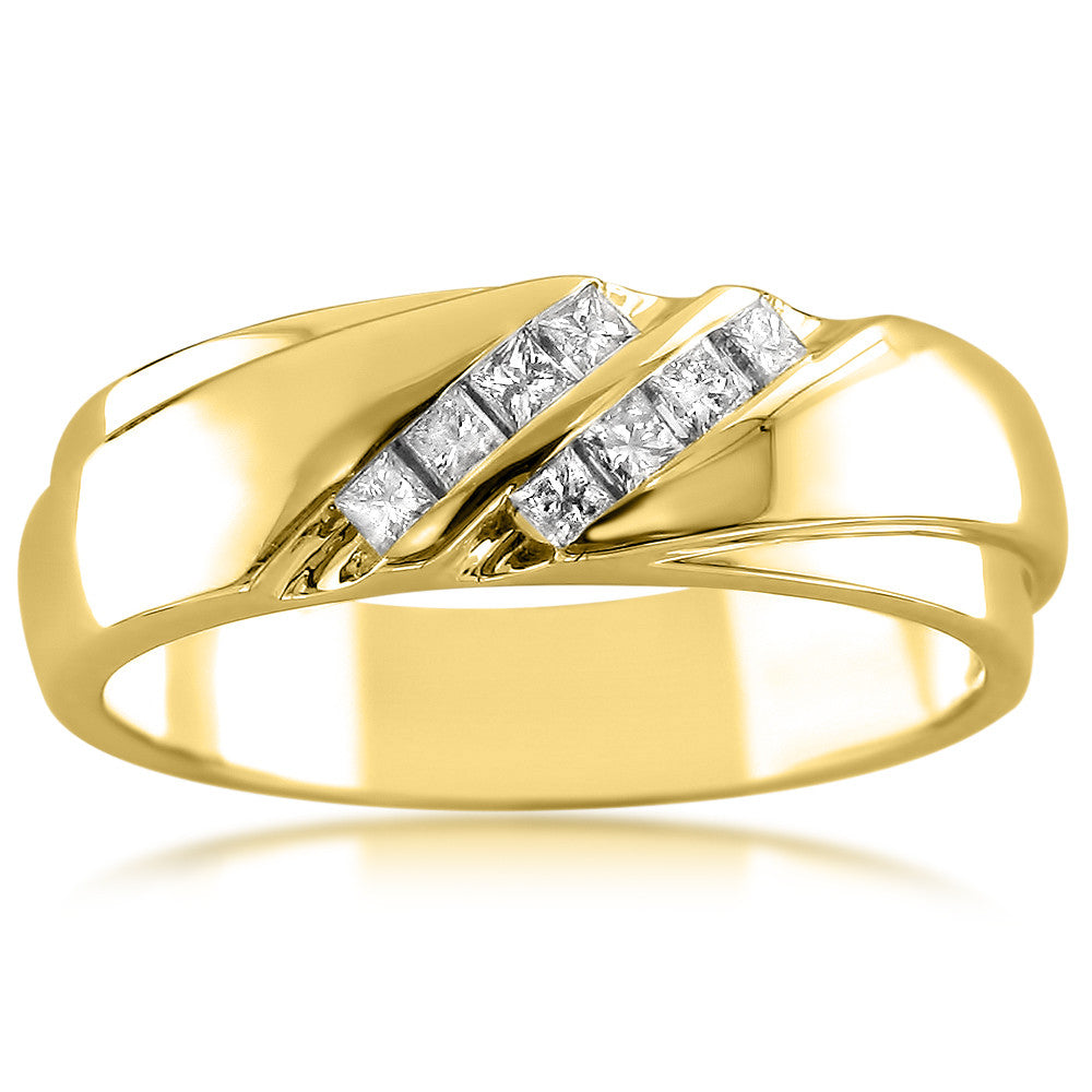 14k Yellow Gold Double Row Princess-cut Diamond Men