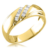 14k Yellow Gold Double Row Princess-cut Diamond Men's Wedding Band Ring (1/4 cttw, I-J, I1-I2)