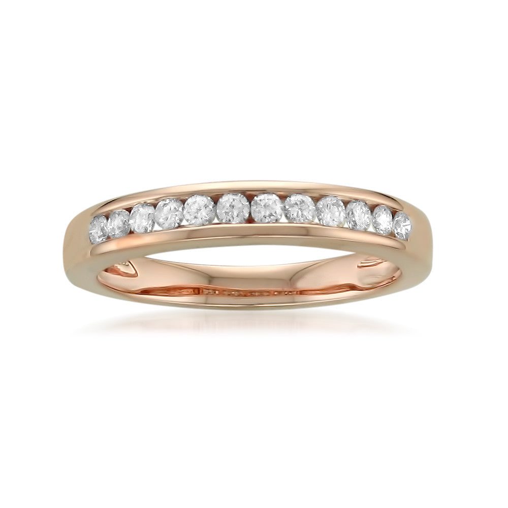 14k Rose Gold 12-Stone Round Diamond Bridal Wedding Band Ring (1/4 cttw, H-I, SI1-SI2)
