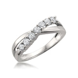 14k White Gold 7-Stone Round Diamond Bridal Wedding Band Ring (1/2 cttw, H-I, I1-I2)