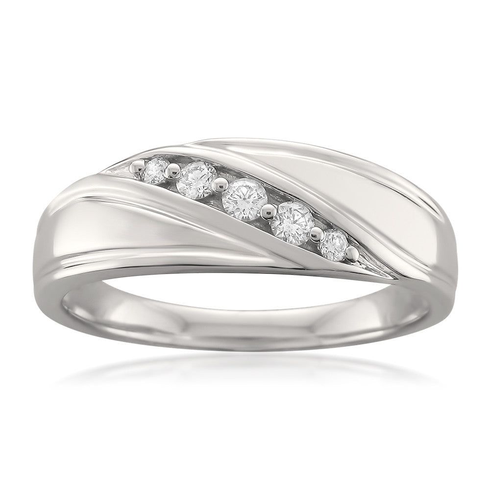 14k White Gold 5-Stone Round Diamond Men