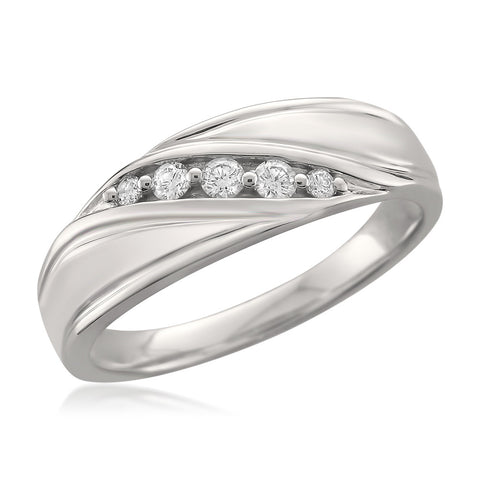14k White Gold 5-Stone Round Diamond Men's Wedding Band Ring (1/4 cttw, F-G, SI1-SI2)