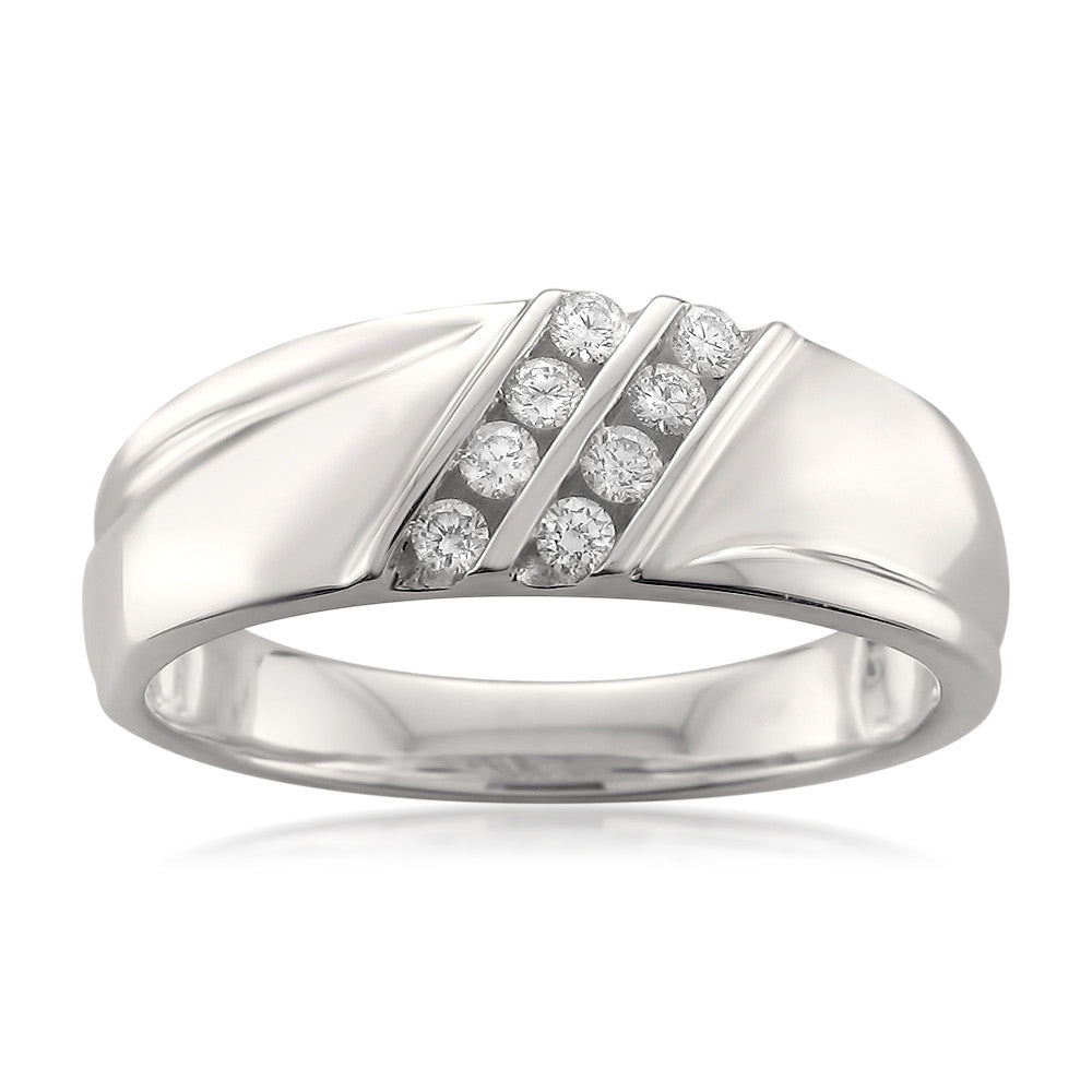 14k White Gold Double Row 8-Stone Round Diamond Men