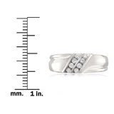 14k White Gold Double Row 8-Stone Round Diamond Men's Wedding Band Ring (1/4 cttw, F-G, SI1-SI2)
