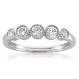 14k White Gold 5-Stone Round Diamond Milgrain Bridal Wedding Band Ring (1/2 cttw, H-I, VS1-VS2)