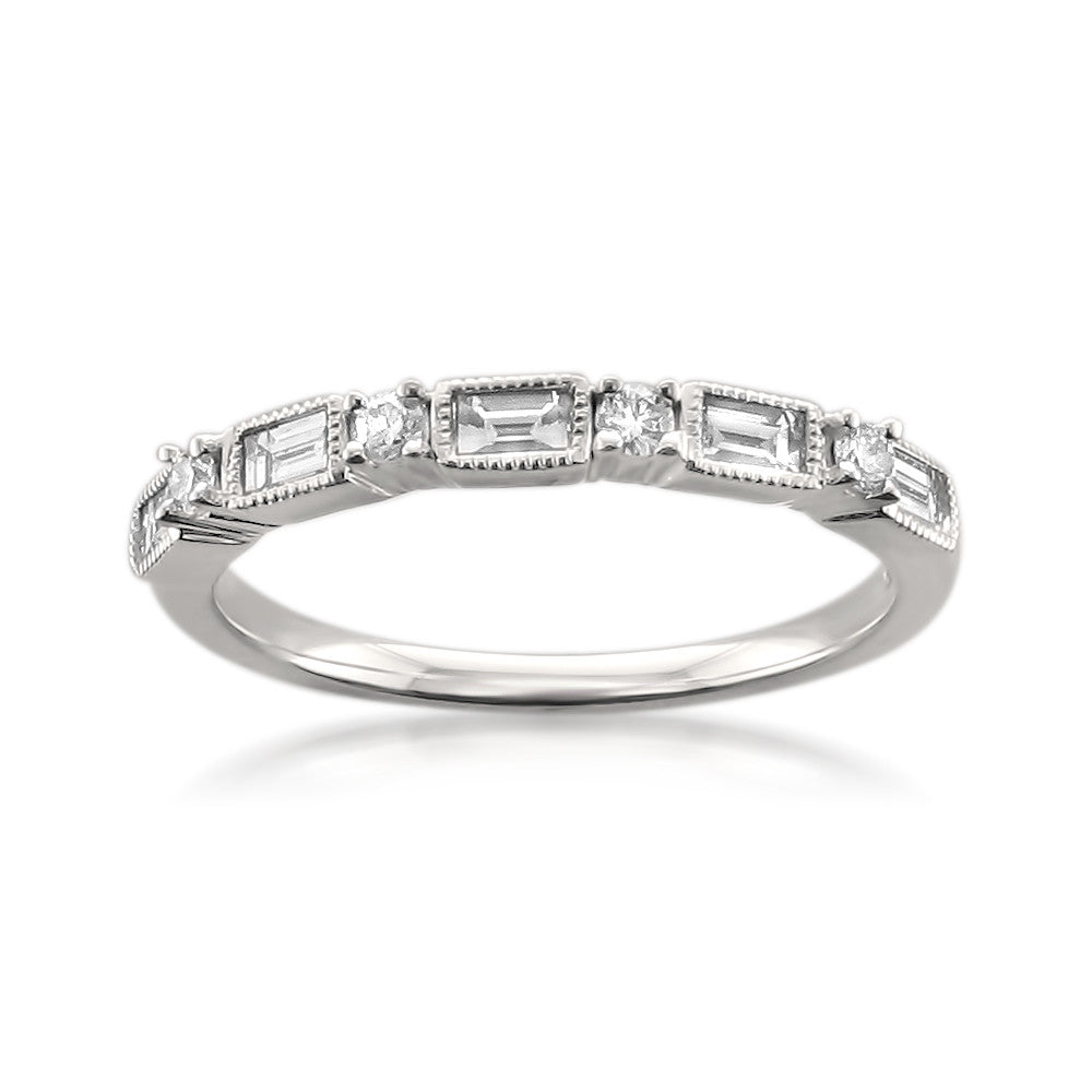 14k White Gold Baguette & Round Diamond Milgrain Bridal Wedding Band Ring (1/2 cttw, I-J, I1-I2)