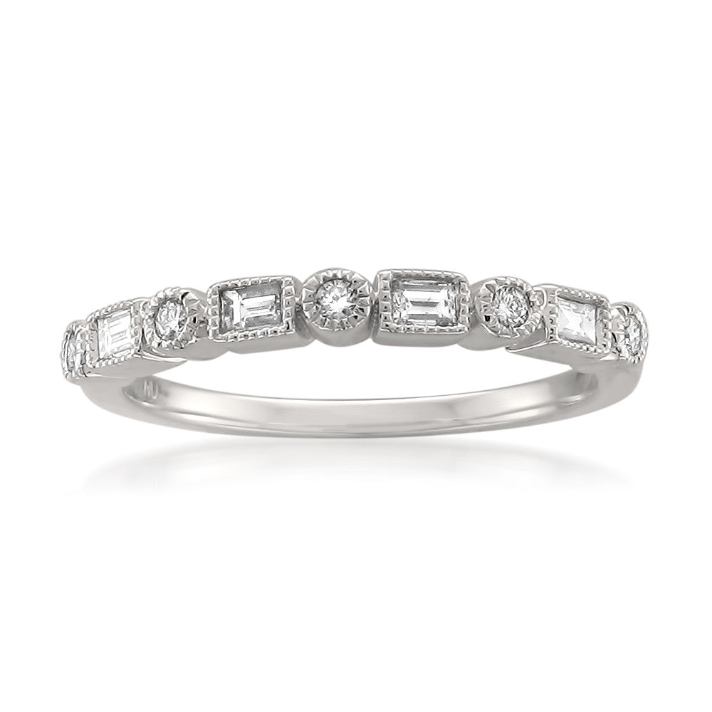 14k White Gold Round & Baguette Diamond Bridal Wedding Band Ring ...
