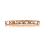 14k Rose Gold Round & Baguette Diamond Bridal Wedding Band Ring (1/4 cttw, I-J, SI2-I1)