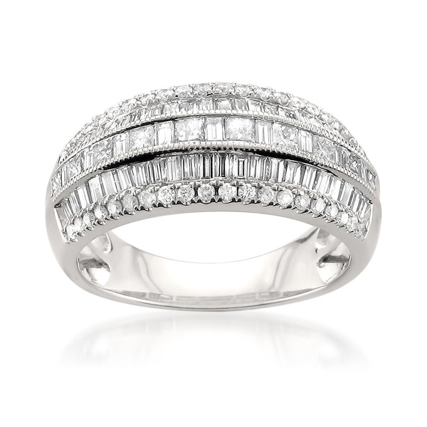 14k White Gold Princess-cut, Round & Baguette Diamond