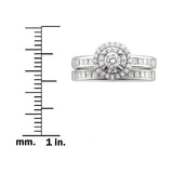 14k White Gold Round & Princess-cut Diamond Halo Engagement Bridal Set Wedding Ring (1 cttw, H-I, I1)