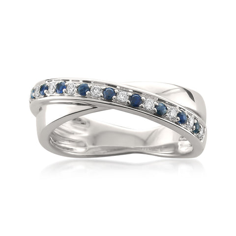 14k White Gold Round Diamond & Blue Sapphire Infinity Band Ring (1/4 cttw, H-I, SI1-SI2)