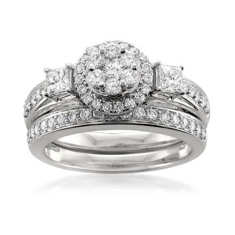 14k White Gold Round & Princess-cut Diamond Halo Engagement Bridal Set Wedding Ring (1 cttw, H-I, SI1-SI2)