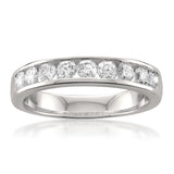 14k White Gold 9-Stone Round Diamond Bridal Wedding Band Ring (3/4 cttw, H-I, SI1-SI2)