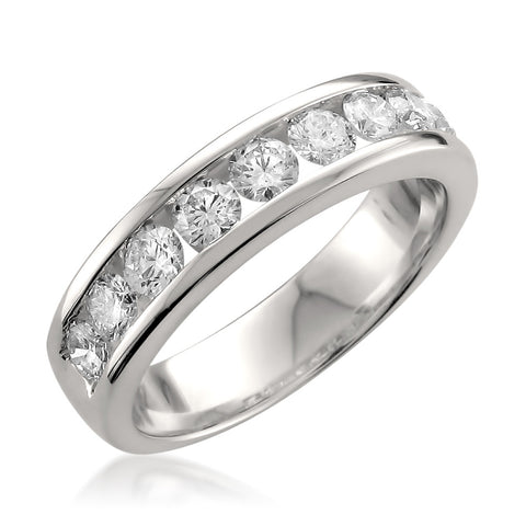14k White Gold 9-Stone Round Diamond Bridal Wedding Band Ring (1 cttw, H-I, SI1-SI2)
