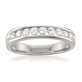 14k White Gold 9-Stone Round Diamond Bridal Wedding Band Ring (1/2 cttw, H-I, SI1-SI2)