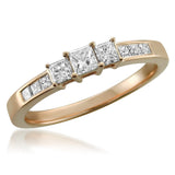 14k Rose Gold Princess-cut 3-Stone Three-Stone Diamond Engagement Wedding Ring (1/2 cttw, H-I, I1-I2)