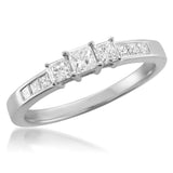 14k White Gold Princess-cut 3-Stone Three-Stone Diamond Engagement Wedding Ring (1/2 cttw, H-I, I1-I2)
