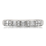 14k White Gold Baguette & Round Diamond Bridal Wedding Band Ring (1/2 cttw, H-I, I1-I2)