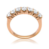 14k Rose Gold 7-Stone Round Diamond Bridal Wedding Band Ring (1 cttw, H-I, SI1-SI2)