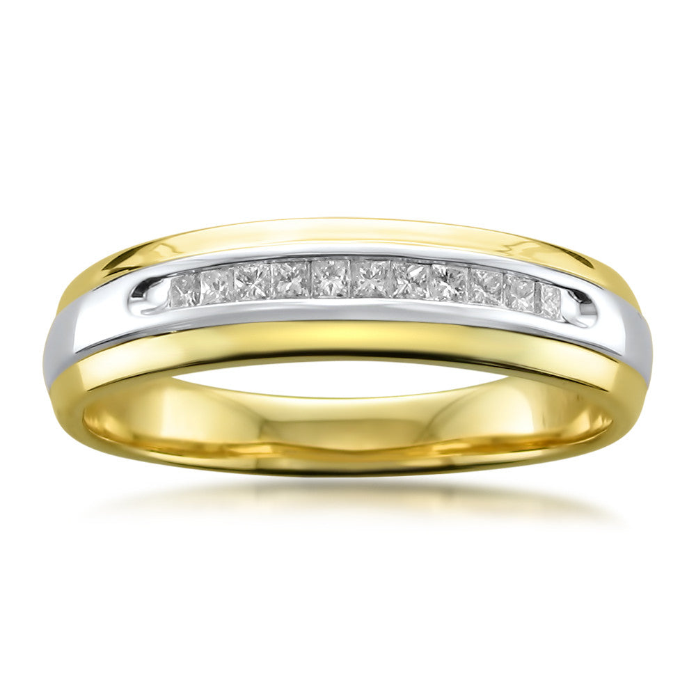 14k Two-Tone Yellow Gold Princess-cut Diamond Men