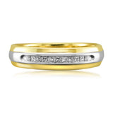 14k Two-Tone Yellow Gold Princess-cut Diamond Men's Wedding Band Ring (1/4 cttw, H-I, I1-I2)