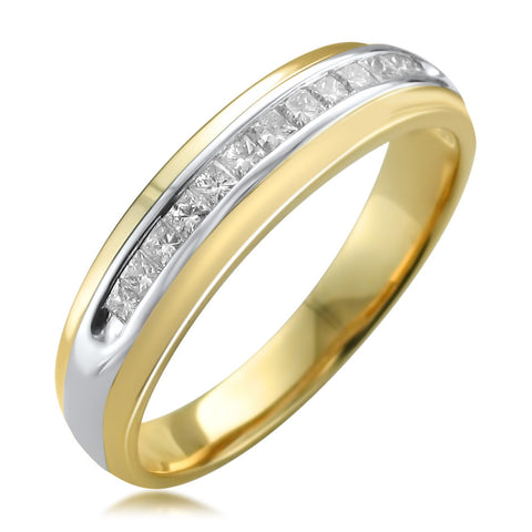 14k Two-Tone Yellow Gold Princess-cut Diamond Men's Wedding Band Ring (1/2 cttw, H-I, I1-I2)