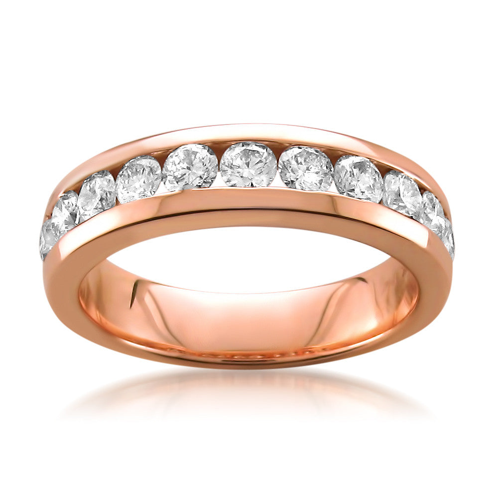 14k Rose Gold 11-Stone Round Diamond Bridal Wedding Band Ring (1 cttw, H-I, SI1-SI2)