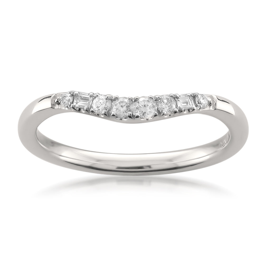 14k White Gold Baguette Round Diamond Curved Wedding Band Ring