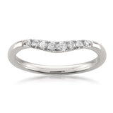 14k White Gold Baguette & Round Diamond Curved Wedding Band Ring (1/7 cttw, H-I, SI2-I1)