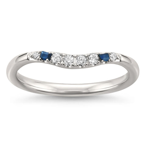 14k White Gold Blue Sapphire Baguette & Round Diamond Curved Wedding Band Ring (1/7 cttw, H-I, SI2-I1)