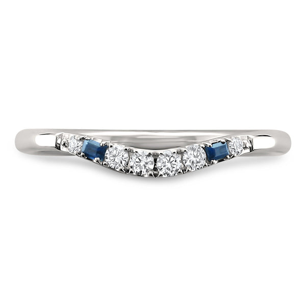14k White Gold Blue Sapphire Baguette Round Diamond Curved Wedding Band Ring 1
