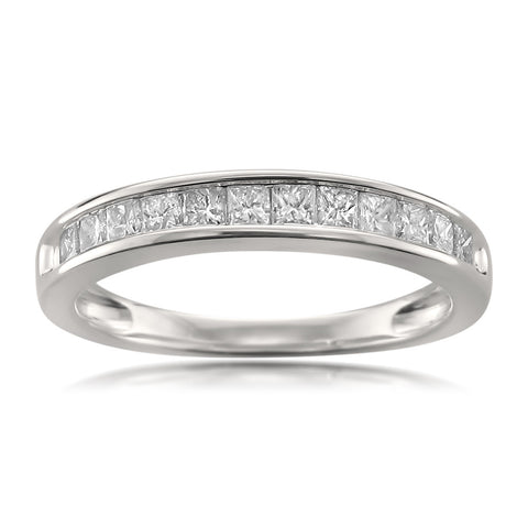 14k White Gold 12-Stone Princess-cut Diamond Bridal Wedding Band Ring (1/2 cttw, I-J, I2-I3)