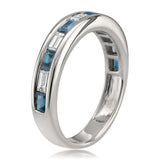 14k White Gold Baguette Diamond & Blue Sapphire Bridal Wedding Band Ring (1 cttw, H-I, SI1-SI2)