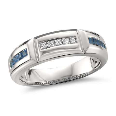 14k White Gold Princess-cut Diamond & Blue Sapphire Men's Wedding Band Ring (5/8 cttw, I-J, SI2-I1)