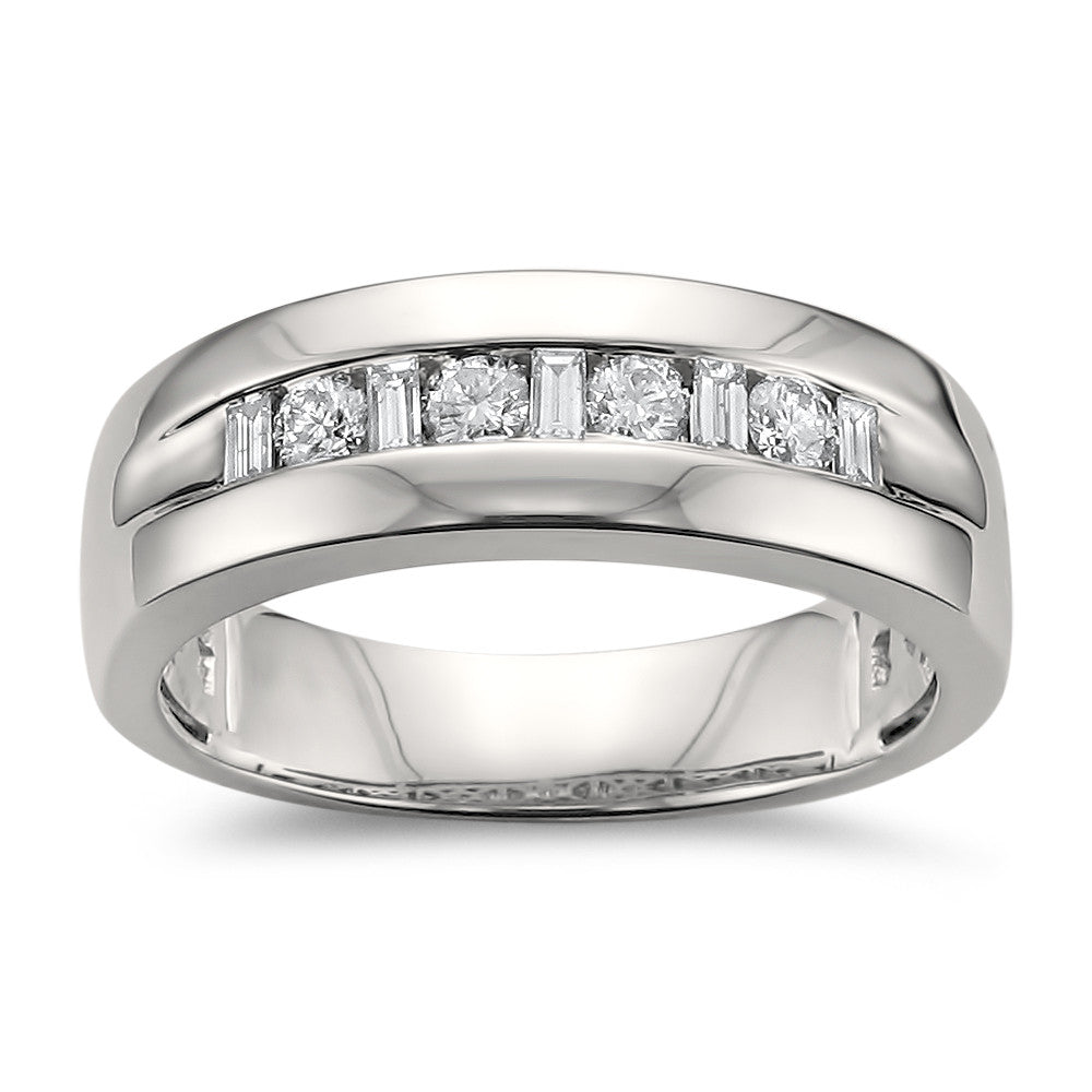 14k White Gold Baguette & Round Diamond Men