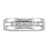 14k White Gold Baguette & Round Diamond Men's Comfort Fit Wedding Band Ring (1/2 cttw, H-I, SI1-SI2)