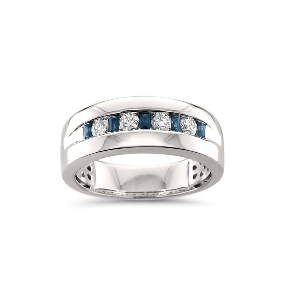 14k White Gold Sapphire Baguette & Round Diamond Men