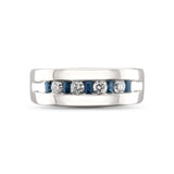 14k White Gold Sapphire Baguette & Round Diamond Men's Comfort Fit Wedding Band Ring (1/2 cttw, H-I, SI2-I1)