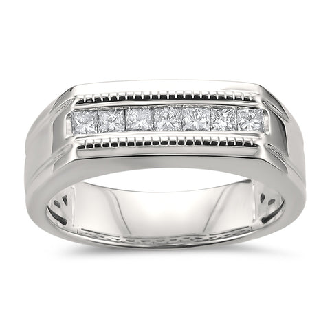 14k White Gold Princess-cut Diamond Men's Milgrain Vintage Wedding Band Ring (1/2 cttw, I-J, SI2-I1)