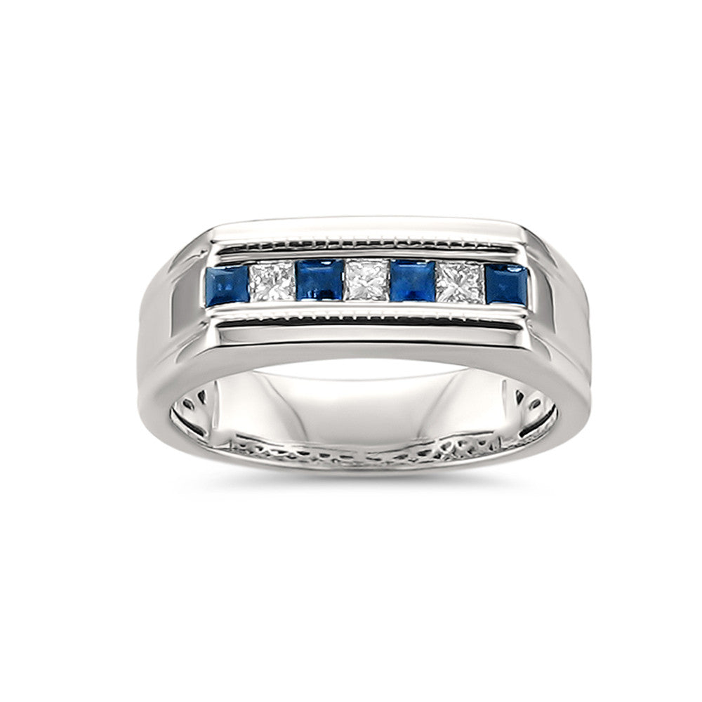 14k White Gold Princess-cut Diamond & Sapphire Men