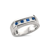 14k White Gold Princess-cut Diamond & Sapphire Men's Milgrain Vintage Wedding Band Ring (1/2 cttw, I-J, SI2-I1)
