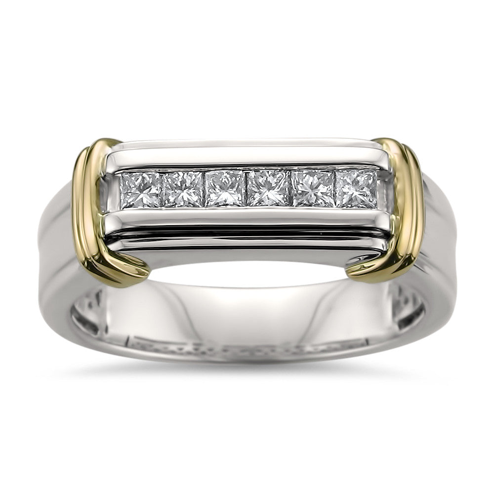 14k Two-Tone Yellow Gold with Rhodium Princess-cut Diamond Men