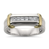 14k Two-Tone Yellow Gold with Rhodium Princess-cut Diamond Men's Wedding Band Ring (1/2 cttw, H-I, SI2-I1)