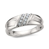 14k White Gold Double Row 8-Stone Round Diamond Comfort Fit Men's Wedding Band Ring (1/4 cttw, H-I, SI2-I1)