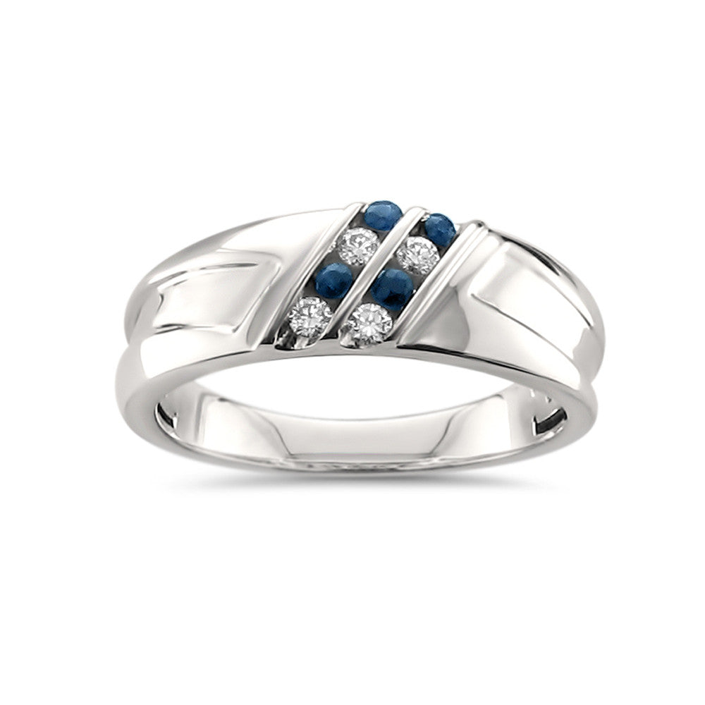 14k White Gold Round Diamond & Blue Sapphire Comfort Fit Men