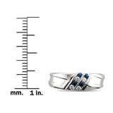14k White Gold Round Diamond & Blue Sapphire Comfort Fit Men's Wedding Band Ring (1/4 cttw, H-I, SI2-I1)
