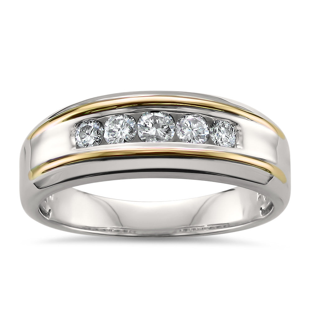 14k Two-Tone White & Yellow Gold Round Diamond Men