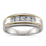 14k Two-Tone White & Yellow Gold Round Diamond Men's Wedding Band Ring (1/2 cttw, H-I, SI2-I1)