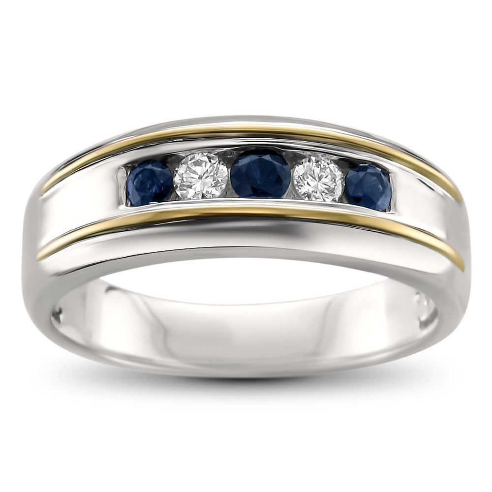 14k Two-Tone White & Yellow Gold Round Diamond & Sapphire Men