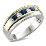 14k Two-Tone White & Yellow Gold Round Diamond & Sapphire Men's Wedding Band Ring (1/2 cttw, H-I, I1-I2)